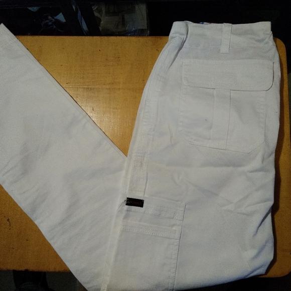White Koi Stretch Small Tall Scrub Pants